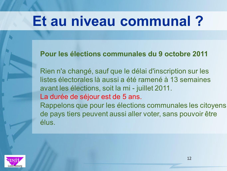 12 Et au niveau communal ? Pour les élections communales du 9 octobre 2011 Rien n'a changé, sauf que le délai d'inscription sur les listes électorales