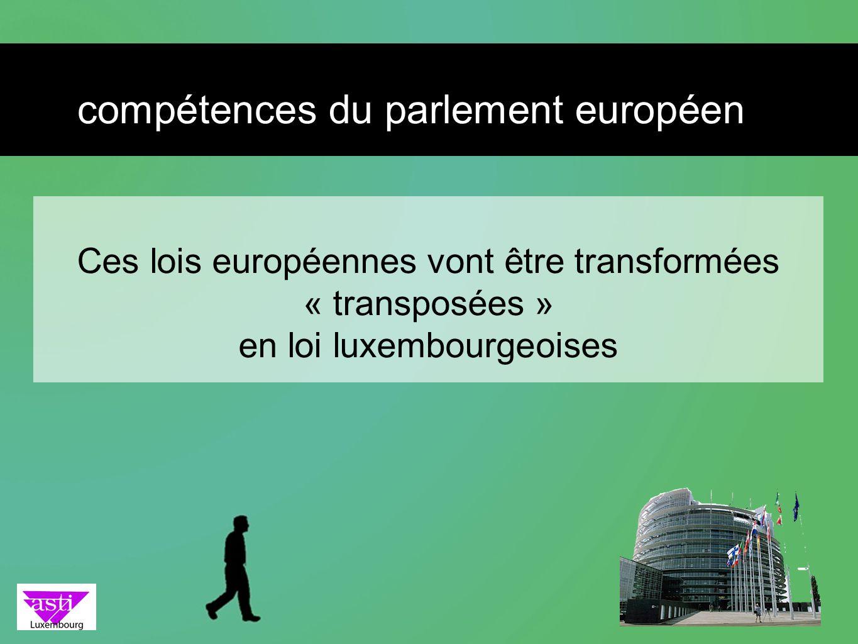 Ces lois européennes vont être transformées « transposées » en loi luxembourgeoises compétences du parlement européen