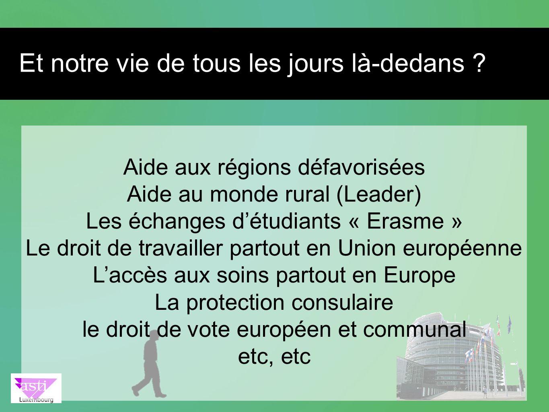 Aide aux régions défavorisées Aide au monde rural (Leader) Les échanges détudiants « Erasme » Le droit de travailler partout en Union européenne Laccè