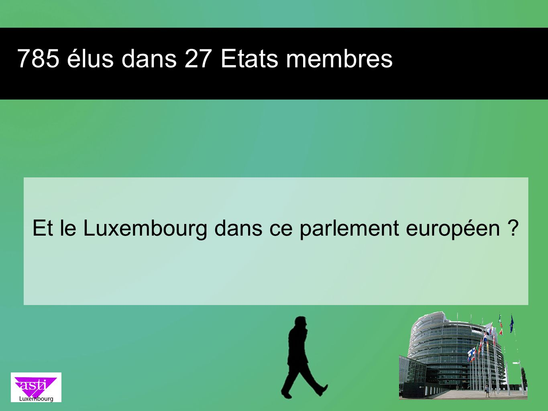 Et le Luxembourg dans ce parlement européen ? 785 élus dans 27 Etats membres