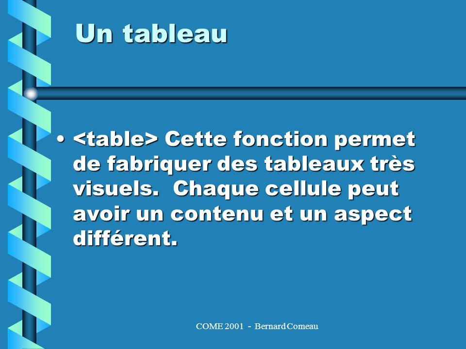 COME 2001 - Bernard Comeau Un tableau Cette fonction permet de fabriquer des tableaux très visuels.