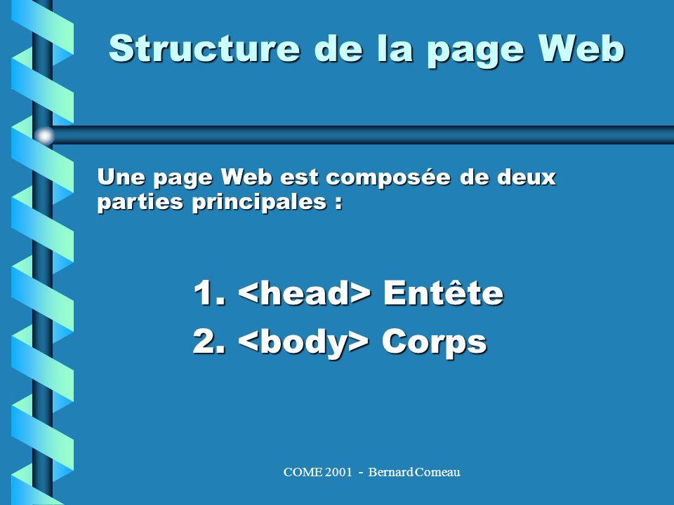 COME 2001 - Bernard Comeau Structure – lentête 1.Entête –Cest la partie principale de la page.