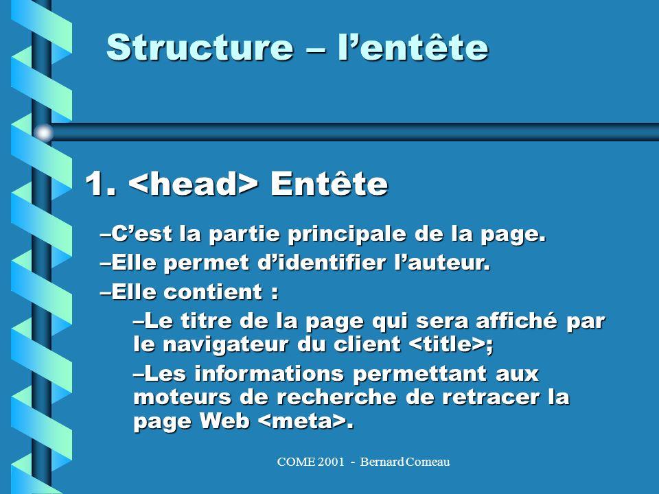 COME 2001 - Bernard Comeau Structure – lentête 1. Entête –Cest la partie principale de la page.