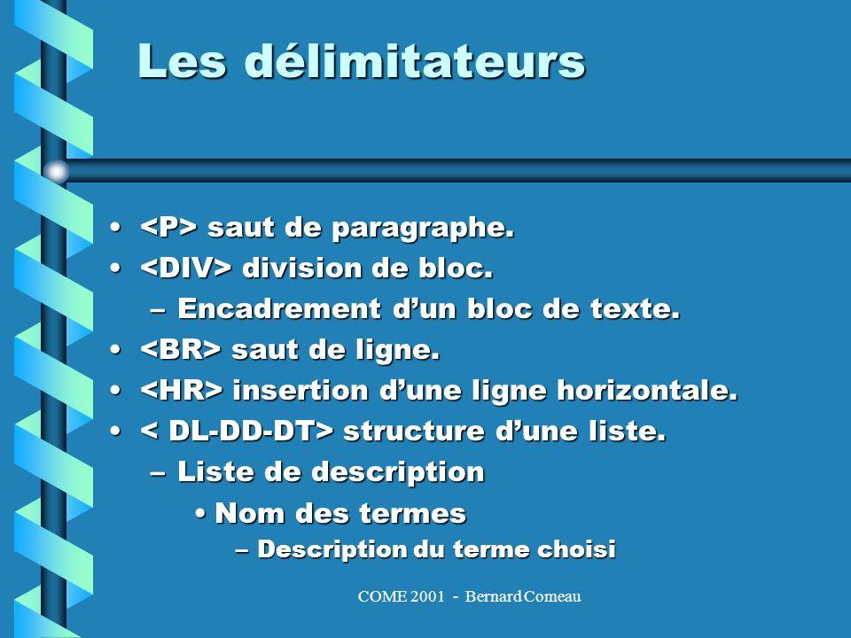 COME 2001 - Bernard Comeau Les styles la taille du texte.