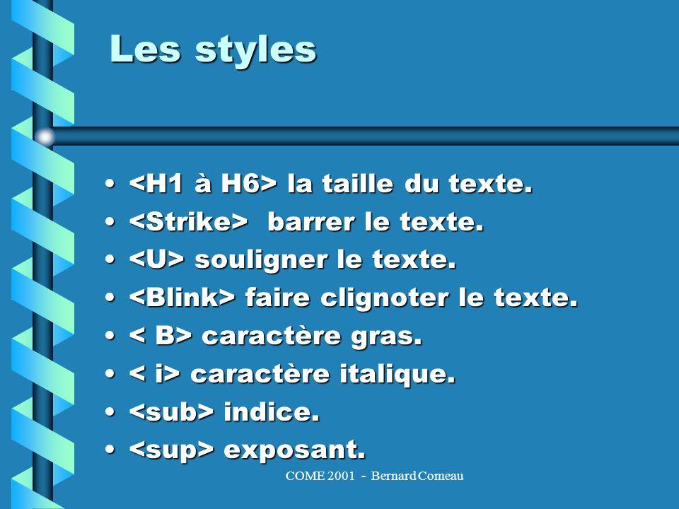 COME 2001 - Bernard Comeau Les caractères spéciaux et accentués Les caractères, & et étant interprétés par HTML, les séquences suivantes permettent leur affichage: < < > > & &