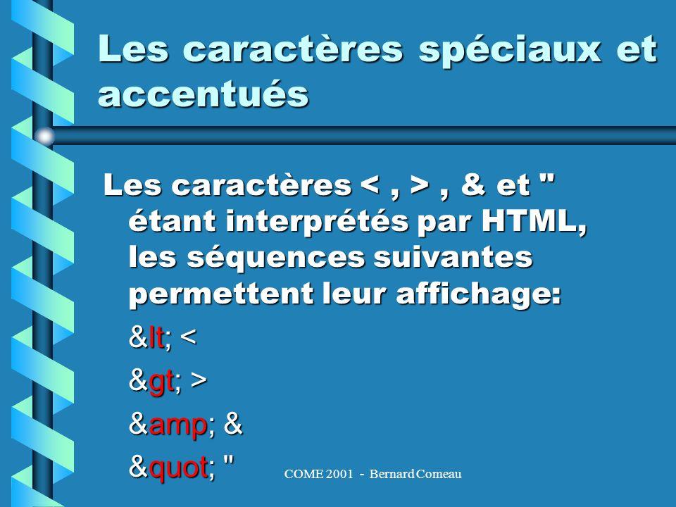 COME 2001 - Bernard Comeau Les caractères spéciaux et accentués - suite Les caractères accentués HTML utilise le jeu de caractères ISO Latin-1 codés sur 8 bits et les caractères ASCII codés sur 7 bits.