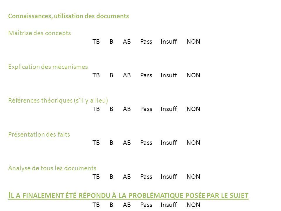Connaissances, utilisation des documents Maîtrise des concepts TB B AB Pass Insuff NON Explication des mécanismes TB B AB Pass Insuff NON Références t