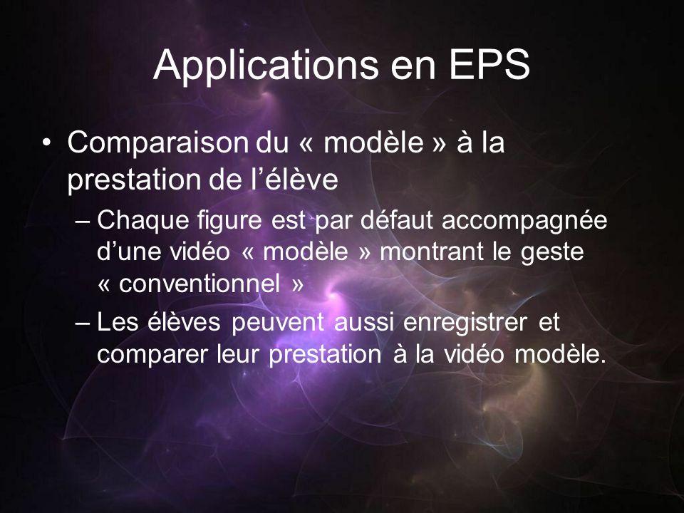 Applications en EPS Comparaison du « modèle » à la prestation de lélève –Chaque figure est par défaut accompagnée dune vidéo « modèle » montrant le geste « conventionnel » –Les élèves peuvent aussi enregistrer et comparer leur prestation à la vidéo modèle.