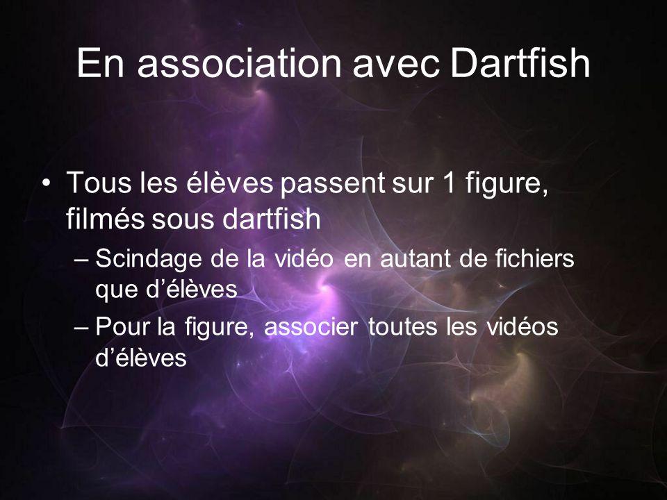 En association avec Dartfish Tous les élèves passent sur 1 figure, filmés sous dartfish –Scindage de la vidéo en autant de fichiers que délèves –Pour la figure, associer toutes les vidéos délèves