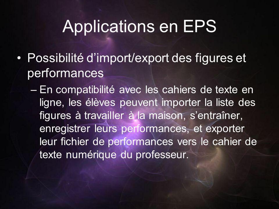 Applications en EPS Possibilité dimport/export des figures et performances –En compatibilité avec les cahiers de texte en ligne, les élèves peuvent im
