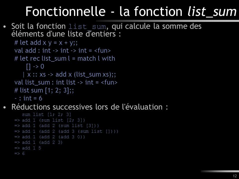 12 Fonctionnelle - la fonction list_sum Soit la fonction list_sum, qui calcule la somme des éléments d'une liste d'entiers : # let add x y = x + y;; v