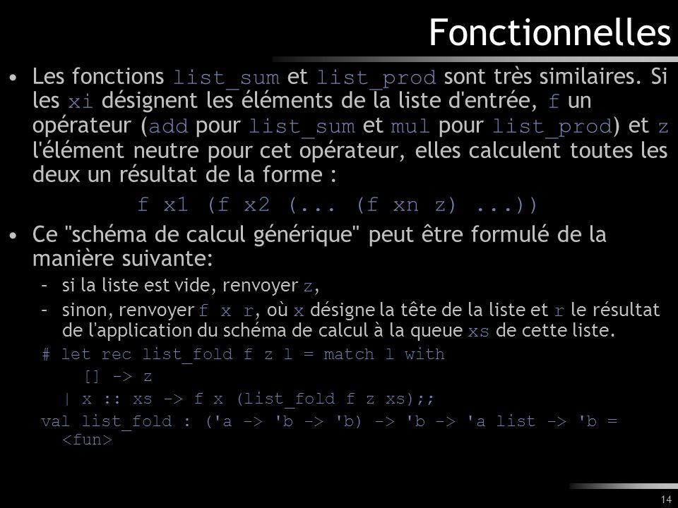 14 Fonctionnelles Les fonctions list_sum et list_prod sont très similaires. Si les xi désignent les éléments de la liste d'entrée, f un opérateur ( ad