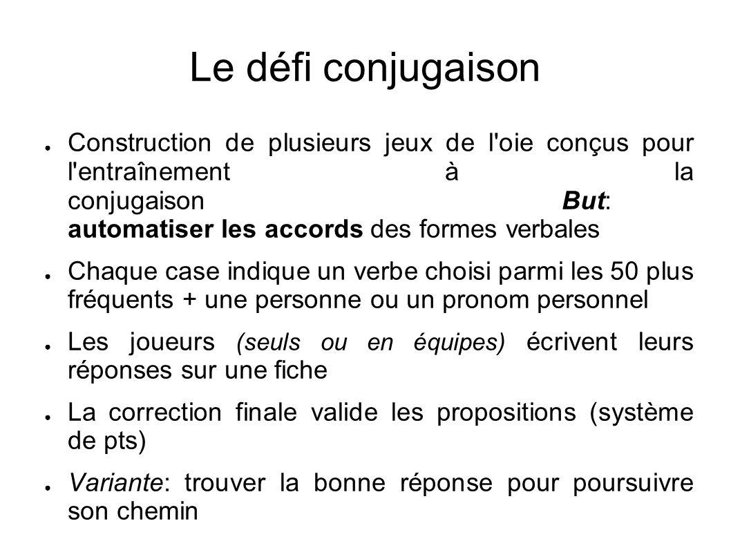 Le défi conjugaison Construction de plusieurs jeux de l'oie conçus pour l'entraînement à la conjugaisonBut: automatiser les accords des formes verbale