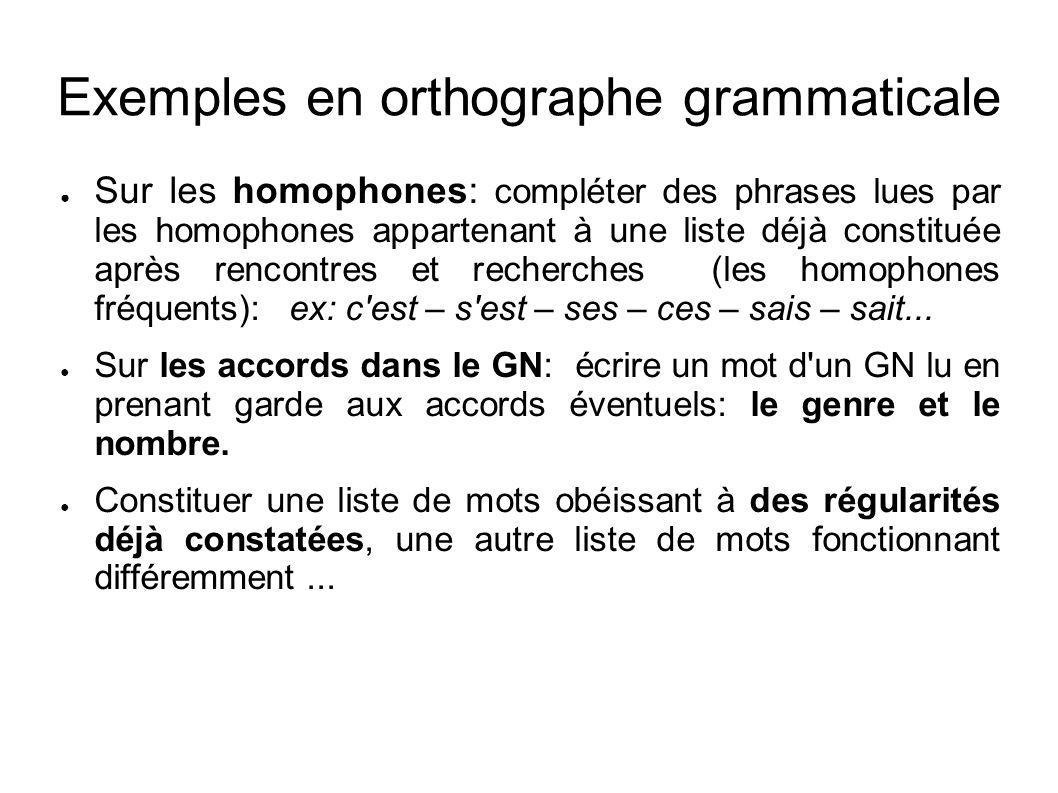 Exemples en orthographe grammaticale Sur les homophones: compléter des phrases lues par les homophones appartenant à une liste déjà constituée après r