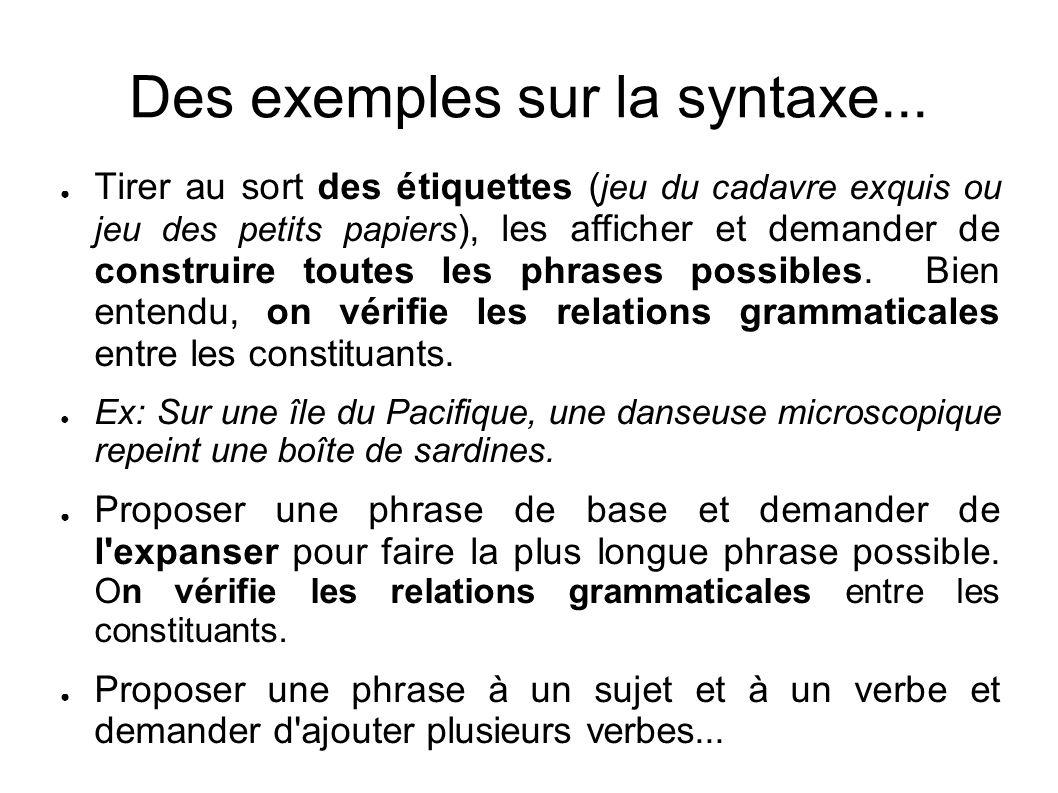 Des exemples sur la syntaxe... Tirer au sort des étiquettes ( jeu du cadavre exquis ou jeu des petits papiers ), les afficher et demander de construir