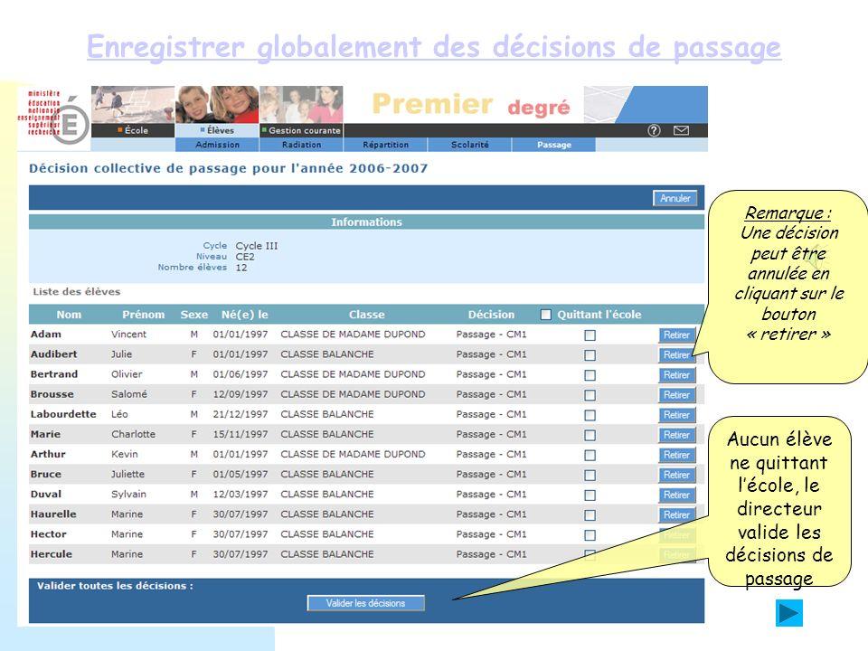Enregistrer globalement des décisions de passage Lenregistrement des décisions de passage pour les CE2 est terminé.