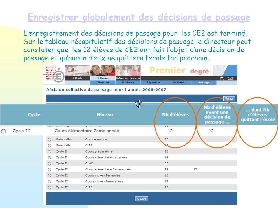 Enregistrer globalement des décisions de passage Lenregistrement des décisions de passage pour les CE2 est terminé. Sur le tableau récapitulatif des d