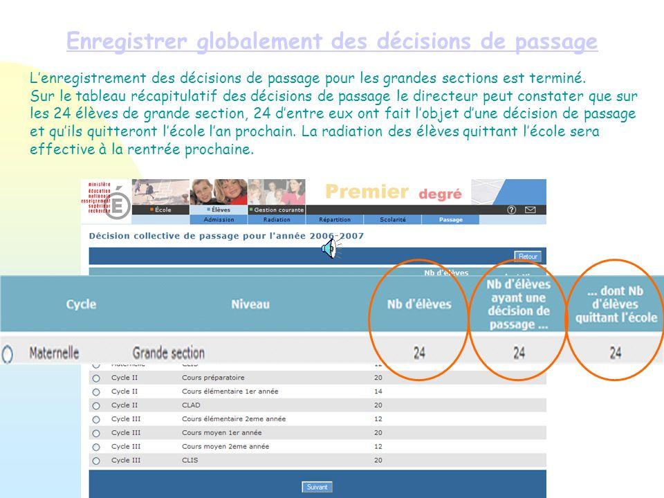 Enregistrer globalement des décisions de passage Lenregistrement des décisions de passage pour les grandes sections est terminé. Sur le tableau récapi