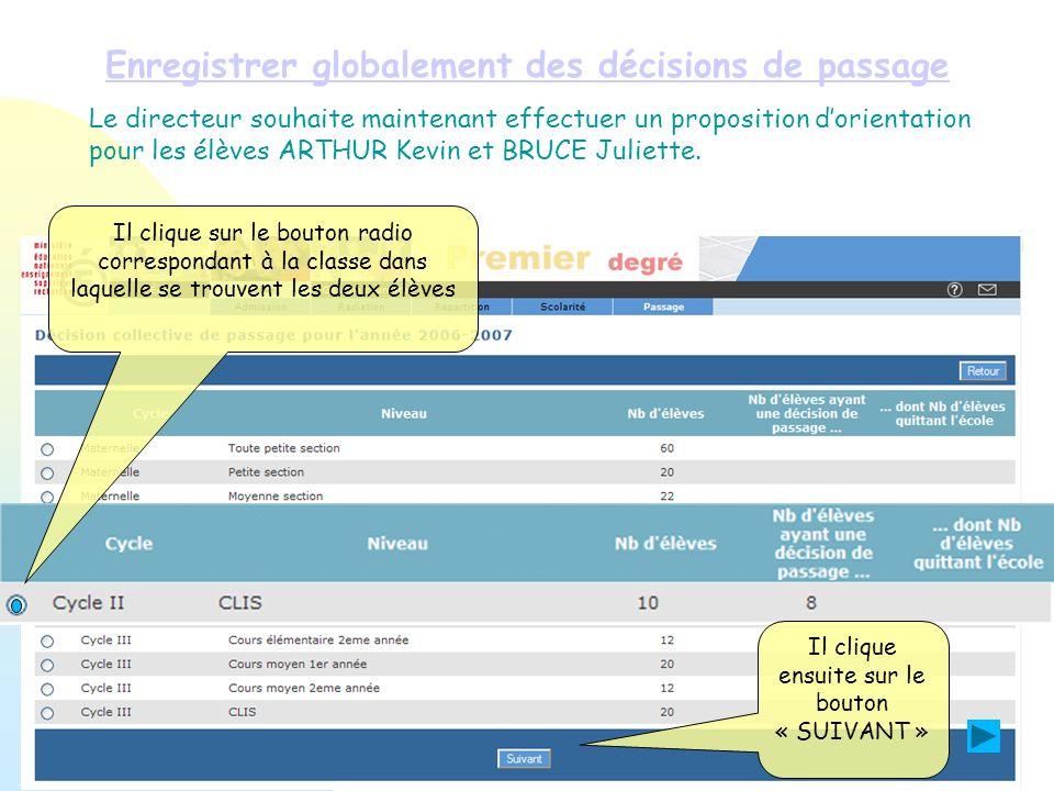 Enregistrer globalement des décisions de passage Le directeur souhaite maintenant effectuer un proposition dorientation pour les élèves ARTHUR Kevin e