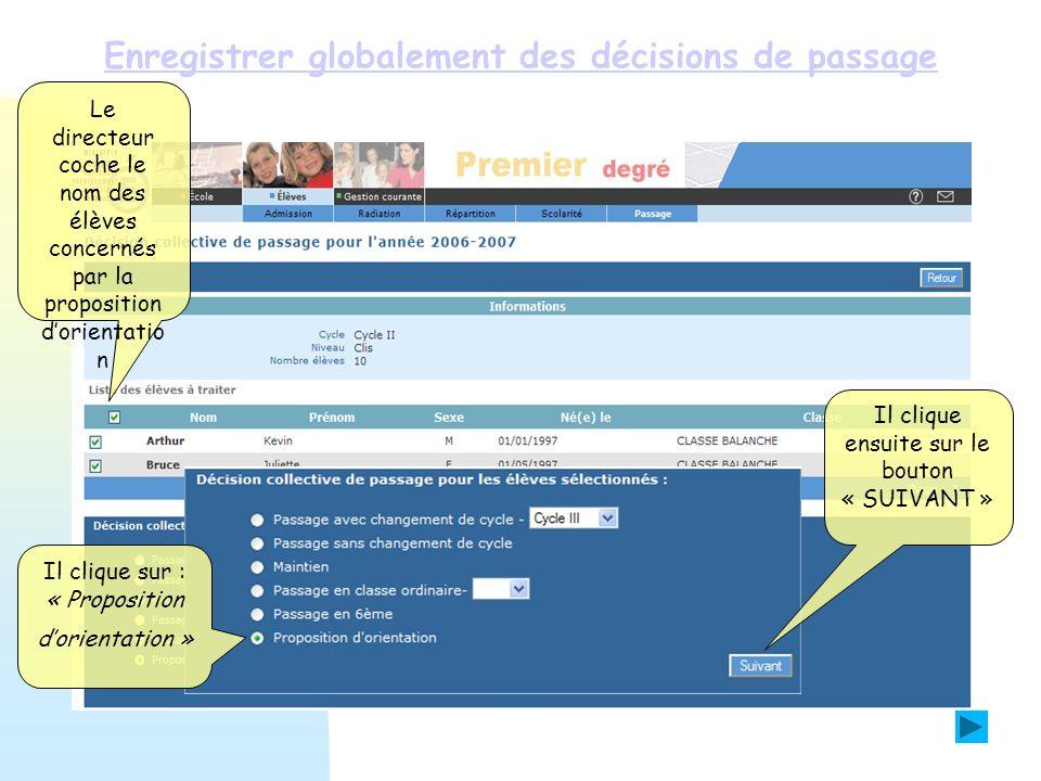 Enregistrer globalement des décisions de passage Le directeur coche le nom des élèves concernés par la proposition dorientatio n Il clique sur : « Pro