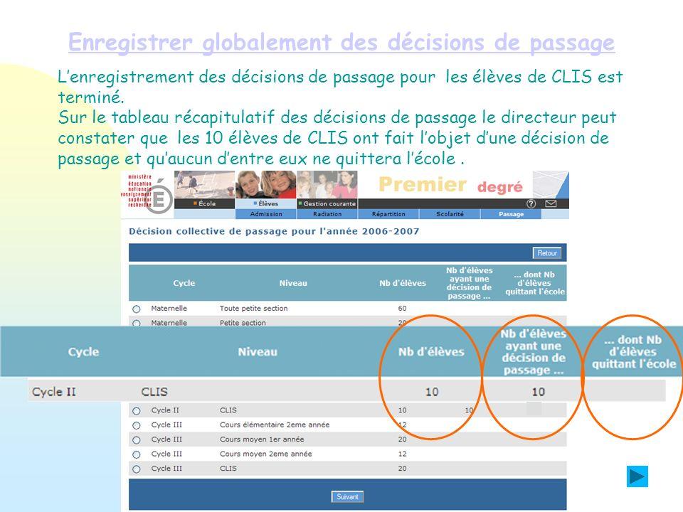 Enregistrer globalement des décisions de passage Lenregistrement des décisions de passage pour les élèves de CLIS est terminé. Sur le tableau récapitu