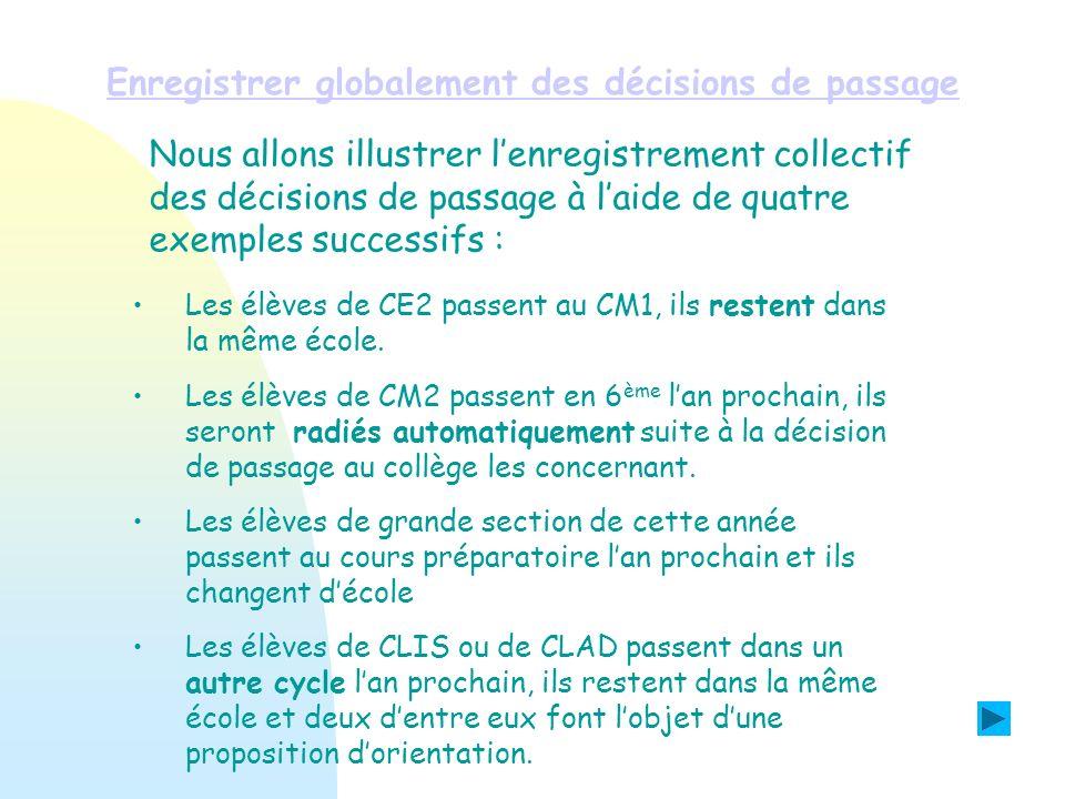 Enregistrer globalement des décisions de passage Exemple N°1 : Les élèves de CE2 de lécole passent au CM1, ils resteront dans lécole lan prochain.