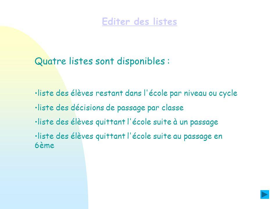 Editer des listes Quatre listes sont disponibles : liste des élèves restant dans l'école par niveau ou cycle liste des décisions de passage par classe
