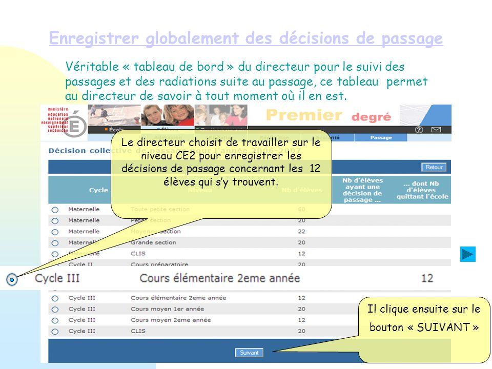 Enregistrer globalement des décisions de passage Il clique ensuite sur le bouton « SUIVANT » Le directeur choisit de travailler sur le niveau CE2 pour