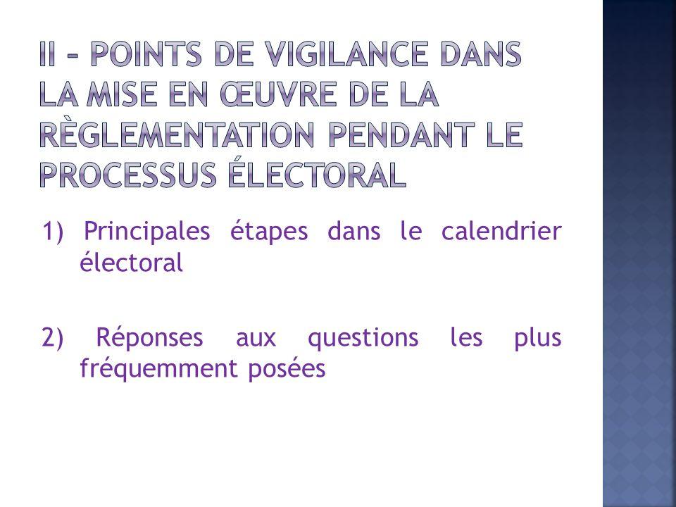 1) Principales étapes dans le calendrier électoral 2) Réponses aux questions les plus fréquemment posées
