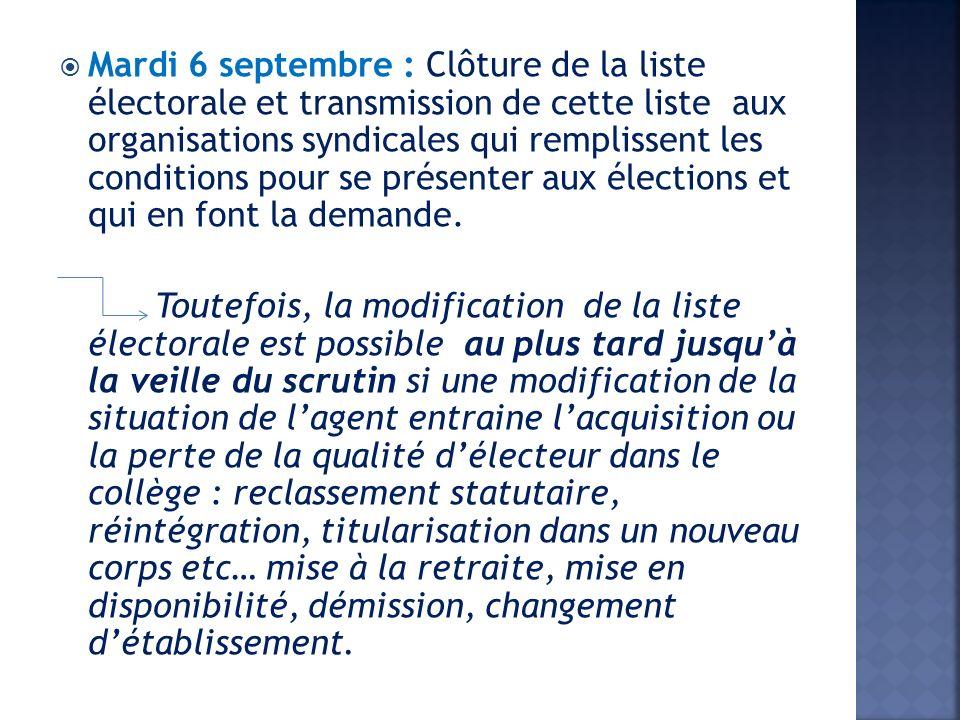 Mardi 6 septembre : Clôture de la liste électorale et transmission de cette liste aux organisations syndicales qui remplissent les conditions pour se présenter aux élections et qui en font la demande.