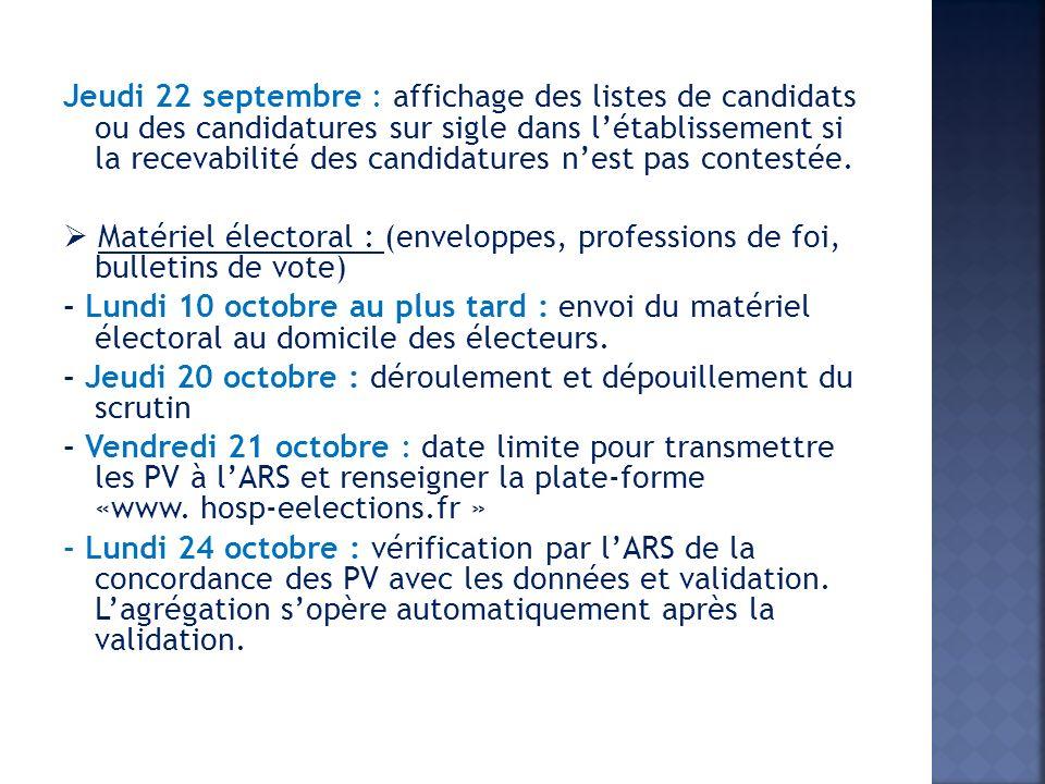 Jeudi 22 septembre : affichage des listes de candidats ou des candidatures sur sigle dans létablissement si la recevabilité des candidatures nest pas contestée.