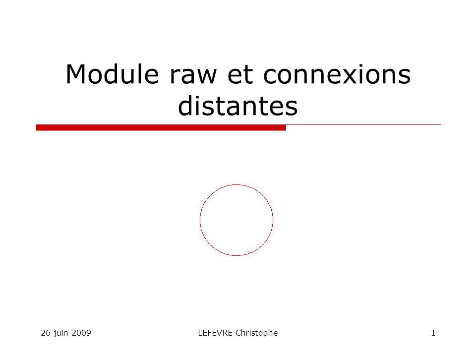 26 juin 2009LEFEVRE Christophe1 Module raw et connexions distantes