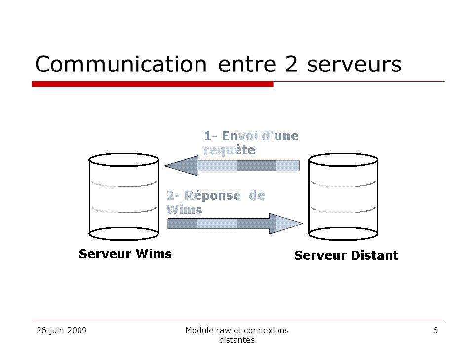 26 juin 2009Module raw et connexions distantes 6 Communication entre 2 serveurs