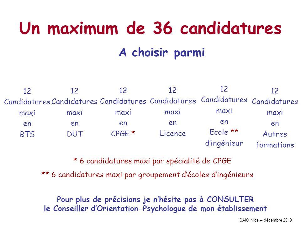 SAIO Nice – décembre 2013 Un maximum de 36 candidatures A choisir parmi 12 Candidatures maxi en Autres formations 12 Candidatures maxi en Ecole ** din