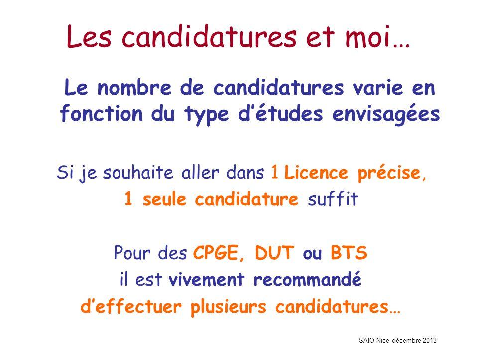 SAIO Nice décembre 2013 Les candidatures et moi… Le nombre de candidatures varie en fonction du type détudes envisagées Si je souhaite aller dans 1 Li