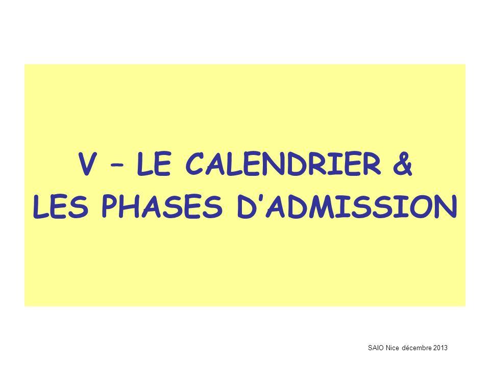 SAIO Nice décembre 2013 V – LE CALENDRIER & LES PHASES DADMISSION