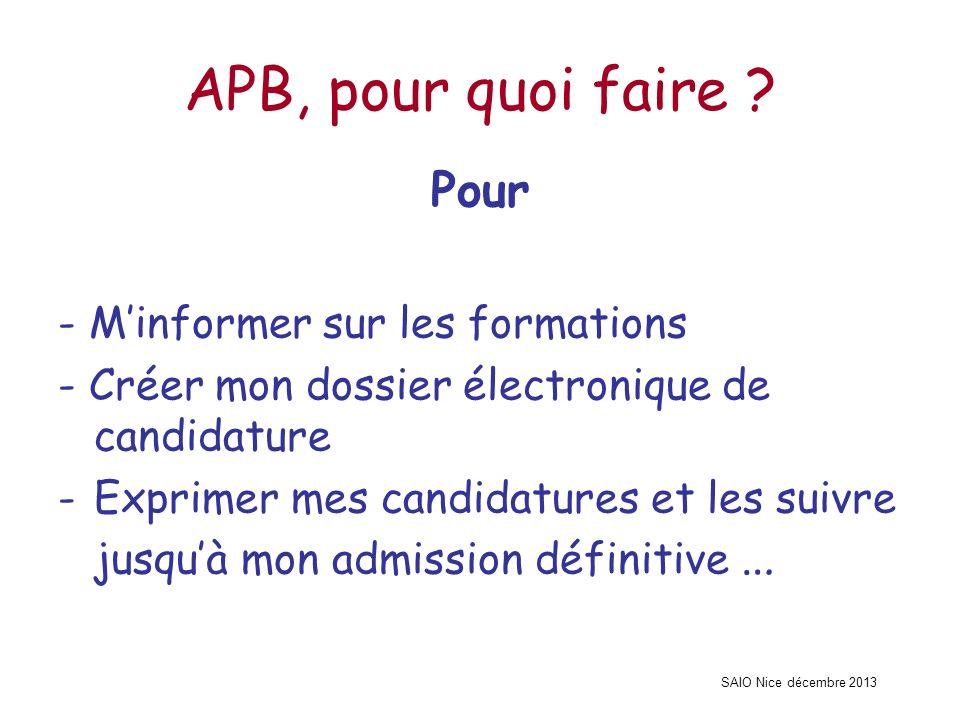 SAIO Nice décembre 2013 APB, pour quoi faire ? Pour - Minformer sur les formations - Créer mon dossier électronique de candidature -Exprimer mes candi
