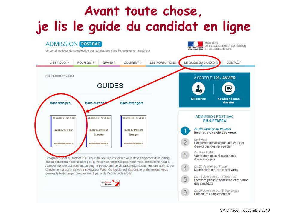SAIO Nice – décembre 2013 Avant toute chose, je lis le guide du candidat en ligne