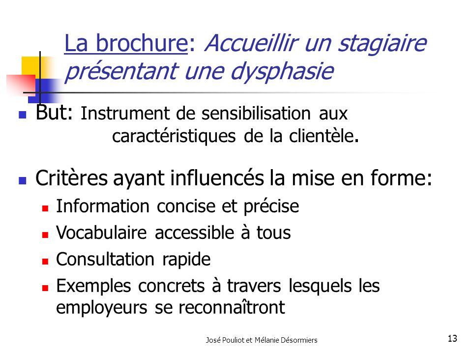 José Pouliot et Mélanie Désormiers 13 La brochure: Accueillir un stagiaire présentant une dysphasie But: Instrument de sensibilisation aux caractérist