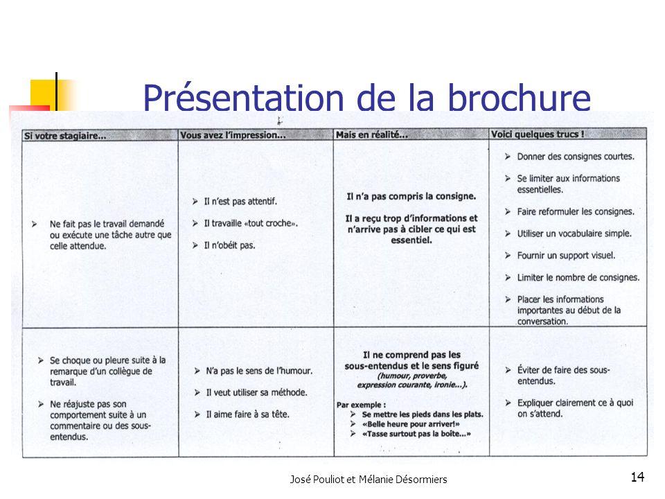 José Pouliot et Mélanie Désormiers 14 Présentation de la brochure