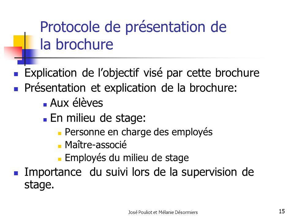 José Pouliot et Mélanie Désormiers 15 Protocole de présentation de la brochure Explication de lobjectif visé par cette brochure Présentation et explic