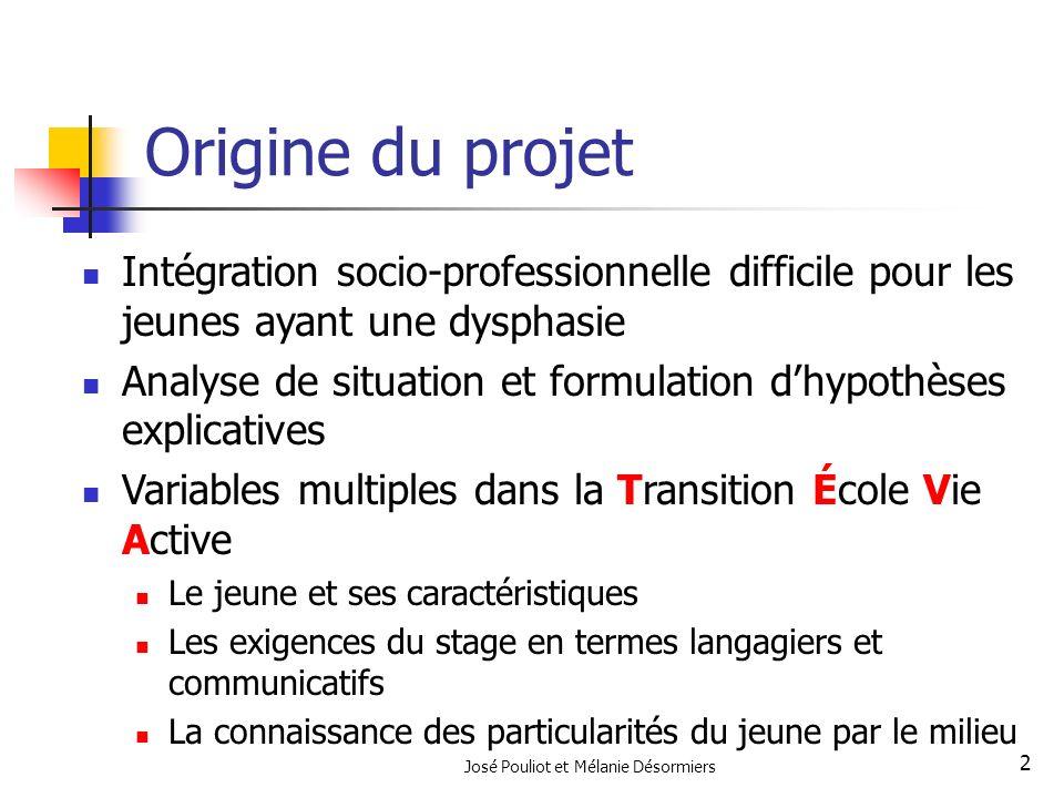 José Pouliot et Mélanie Désormiers 2 Origine du projet Intégration socio-professionnelle difficile pour les jeunes ayant une dysphasie Analyse de situ