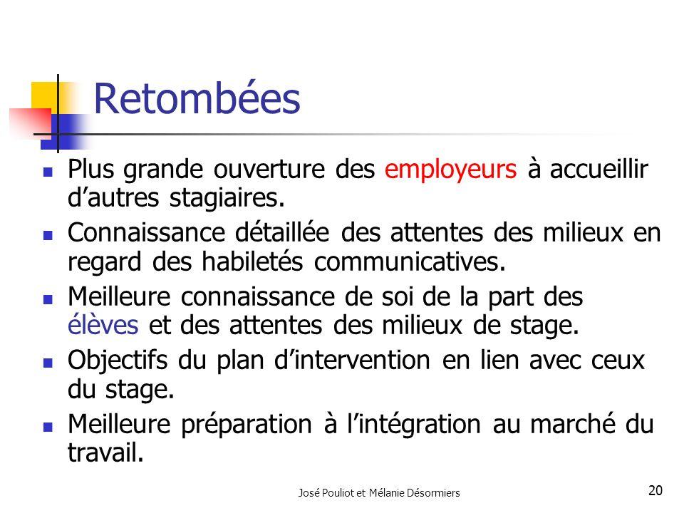 José Pouliot et Mélanie Désormiers 20 Retombées Plus grande ouverture des employeurs à accueillir dautres stagiaires. Connaissance détaillée des atten