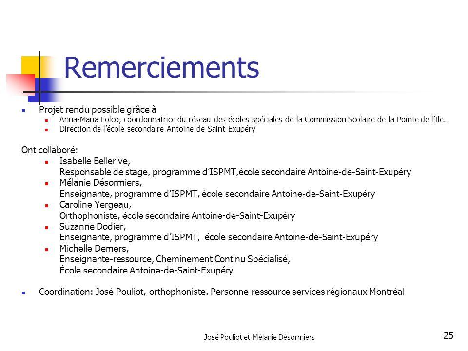 José Pouliot et Mélanie Désormiers 25 Remerciements Projet rendu possible grâce à Anna-Maria Folco, coordonnatrice du réseau des écoles spéciales de l