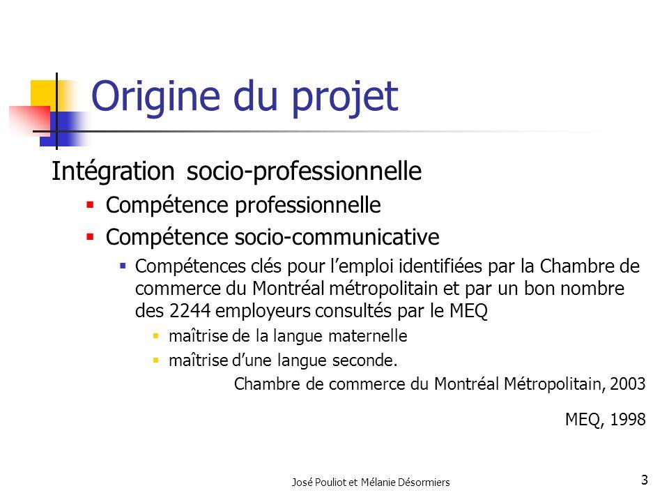 José Pouliot et Mélanie Désormiers 3 Origine du projet Intégration socio-professionnelle Compétence professionnelle Compétence socio-communicative Com
