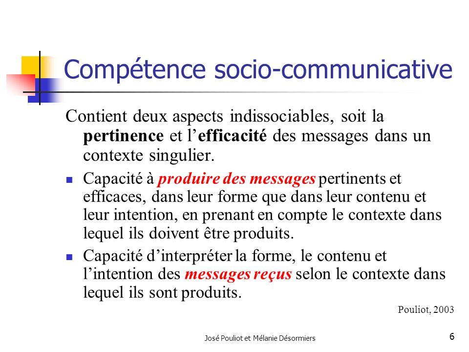 José Pouliot et Mélanie Désormiers 6 Compétence socio-communicative Contient deux aspects indissociables, soit la pertinence et lefficacité des messag