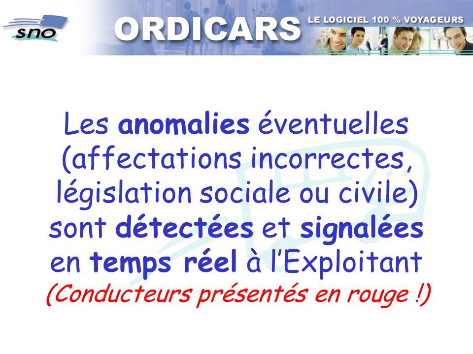 Les anomalies éventuelles (affectations incorrectes, législation sociale ou civile) sont détectées et signalées en temps réel à lExploitant (Conducteu