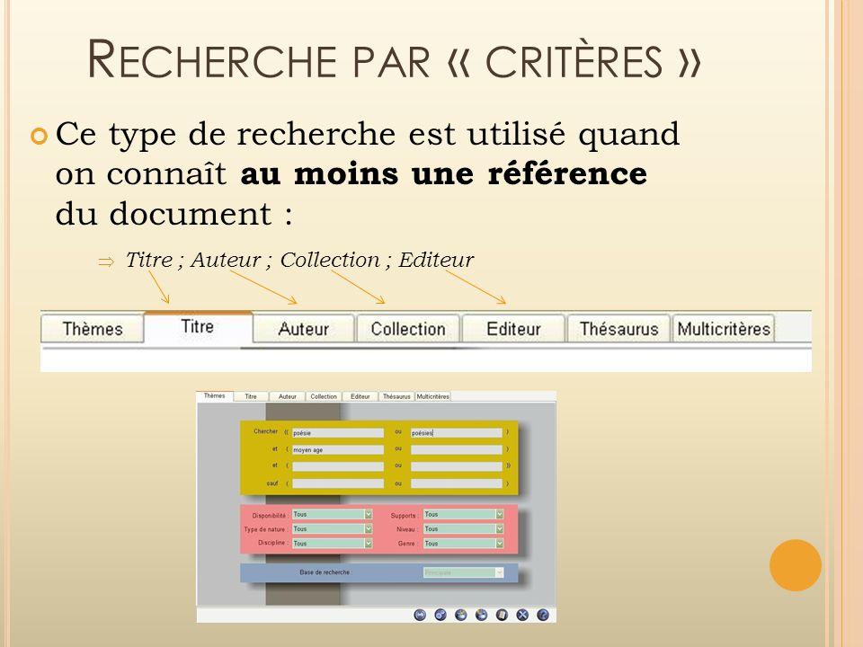 R ECHERCHE PAR « CRITÈRES » Ce type de recherche est utilisé quand on connaît au moins une référence du document : Titre ; Auteur ; Collection ; Edite
