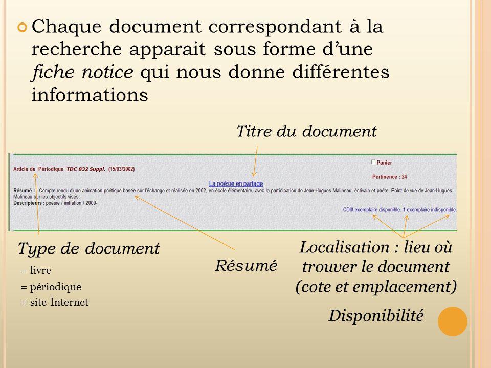 Chaque document correspondant à la recherche apparait sous forme dune fiche notice qui nous donne différentes informations Type de document = livre =