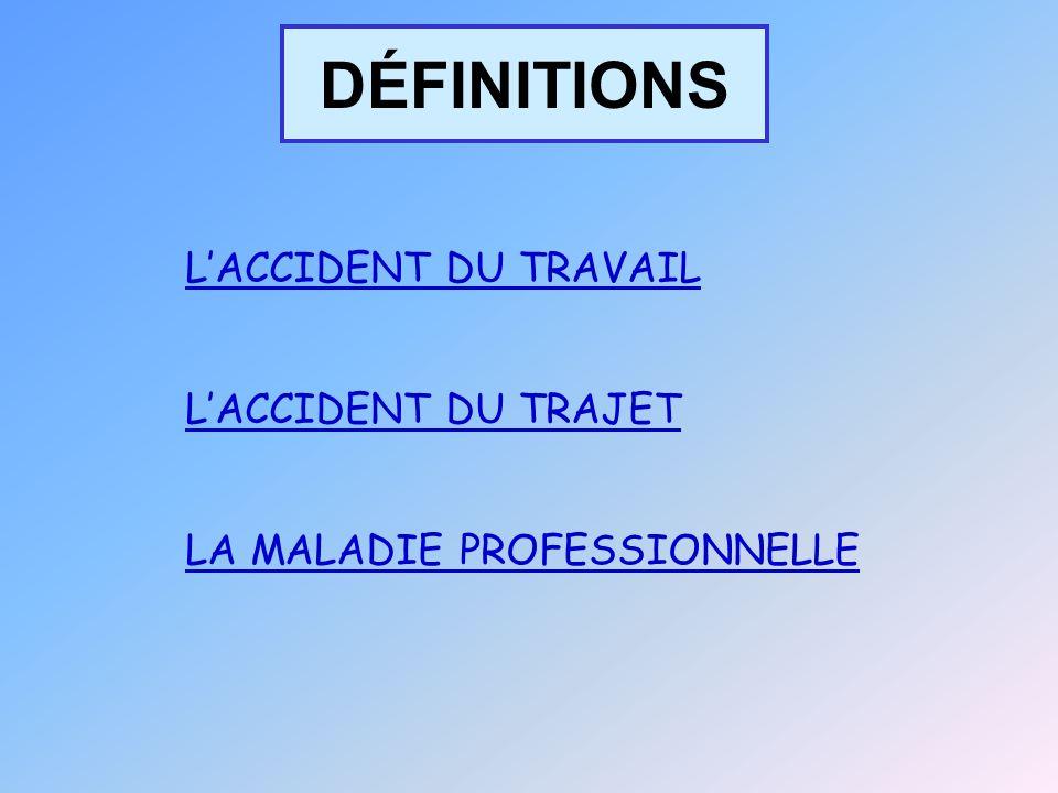 DÉFINITIONS LACCIDENT DU TRAVAIL LACCIDENT DU TRAJET LA MALADIE PROFESSIONNELLE